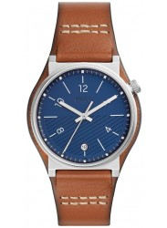 Fossil Men's Barstow Blue Dial Brown Leather Watch FS5524