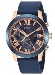 Guess Men's Atlas Chronograph Blue Dial Blue Rubber Watch W1055G2