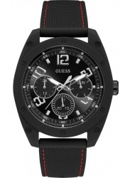 Guess Men's Dash Chronograph Black Dial Black Silicone Watch W1256G1
