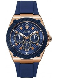 Guess Men's Legacy Chronograph Blue Dial Blue Rubber Watch W1049G2
