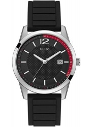 Guess Men's Perry Black Dial Black Rubber Watch W0991G1