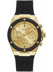 Guess Women's Athena Chronograph Gold Dial Black Rubber Watch GW0030L2