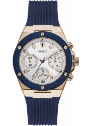 Guess Women's Athena Chronograph White Dial Blue Rubber Watch GW0030L5