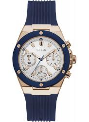 Guess Women's Athena Chronograph White Dial Blue Rubber Watch GW0030L5
