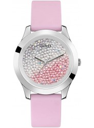 Guess Women's Crush Pink and Silver Stone Dial Pink Rubber Watch W1223L1