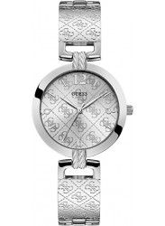 Guess Women's G Luxe Silver Monogram Dial Stainless Steel Watch W1228L1