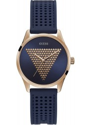 Guess Women's Mini Imprint Blue Dial Blue Rubber Watch W1227L3