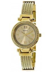 Guess Women's Mini Soho Gold Crystal Dial Gold Stainless Steel Watch W1009L2