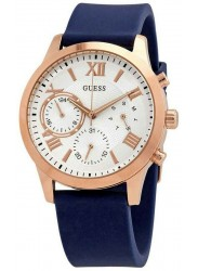 Guess Women's Solar White Dial Blue Rubber Watch W1265L1