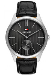 Tommy Hilfiger Men's Curis Grey Dial Black Leather Watch 1791168