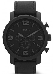 Fossil Men's Nate Chronograph Black Leather Watch JR1354