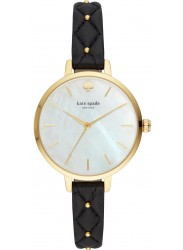 Kate Spade Women's Metro Mother of Pearl Dial Black Leather Watch KSW1469