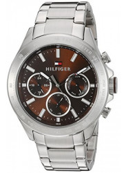 Tommy Hilfiger Men's Hudson Brown Dial Stainless Steel Watch 1791229