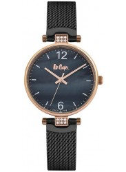 Lee Cooper Women's Black Mother of Pearl Dial Black Stainless Steel Watch LC06587.450