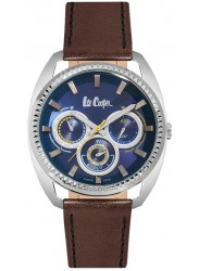 Lee Cooper Men's Chronograph Blue Dial Brown Leather Strap Watch LC06664.395