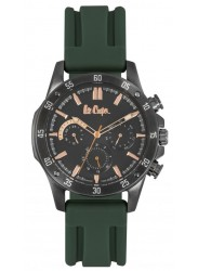 Lee Cooper Men's Chronograph Black Dial Green Rubber Watch LC06838.065