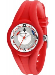 face of Maserati Children's White Dial Red Rubber Campione Watch R8851135003