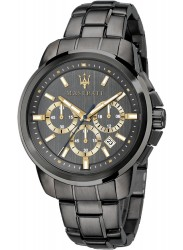 face of Maserati Men's Chronograph Black Dial Black Stainless Steel Successo Watch R8873621007