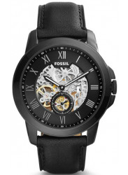 Fossil Men's Grant Automatic Black Skeleton Dial Leather Watch ME3096