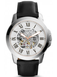 Fossil Men's Grant Automatic Skeleton Dial Black Leather Watch ME3101