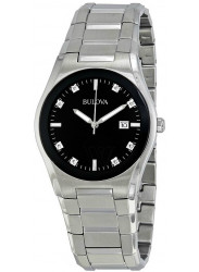 Bulova Men's Black Dial Stainles Steel Watch 96D104