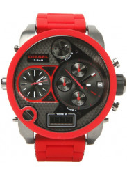 Diesel Men's Gunmetal Dial Red Silicone Watch DZ7279
