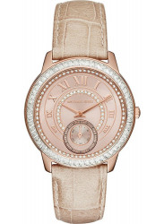 Michael Kors Women's Madelyn Rose Gold Dial Beige Leather Watch MK2448