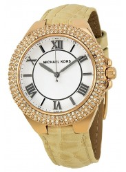 Michael Kors Women's Slim Camille Beige Leather Watch MK2330