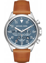 Michael Kors Men's Gage Blue Dial Brown Leather Watch MK8490