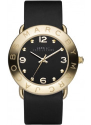 Marc by Marc Jacobs Women's Amy Black Dial Black Leather Watch MBM1154