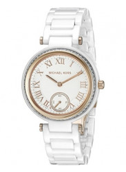 Michael Kors Women's MK6240 'Mini Skylar' Crystal White Ceramic Watch