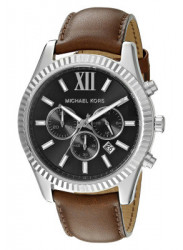 Michael Kors Men's Lexington Black Dial Brown Leather Watch MK8456