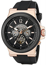 Michael Kors Men's Automatic Dylan Black Silicone Strap Watch MK9019