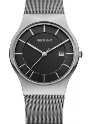 Bering Men's Classic Black Dial Stainless Steel Mesh Watch 11938-002