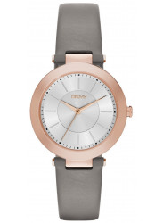 DKNY Women's Stanhope Silver Dial Grey Leather Watch NY2408