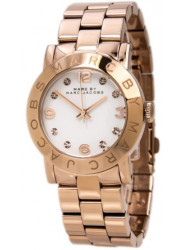 Marc by Marc Jacobs Women's White Dial Rose Gold-Tone Watch MBM3077