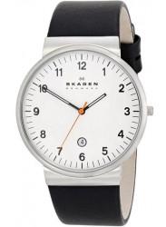 Skagen Men's Klassic White Dial Black Leather Watch SKW6024