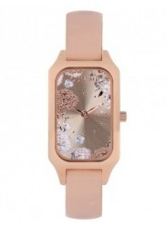 OUI&ME Women's Finette Rose Gold Floral Dial Beige Leather Watch ME010120
