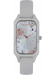 OUI&ME Women's Finette Silver Floral Dial White Leather Watch ME010121