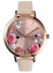 OUI&ME Women's Grande Fleurette Rose Gold Floral Dial Beige Leather Watch ME010108