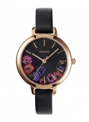 OUI&ME Women's Petite Fleurette Black Floral Dial Black Leather Watch ME010059
