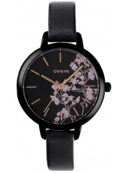 OUI&ME Women's Petite Fleurette Black Floral Dial Black Leather Watch ME010065
