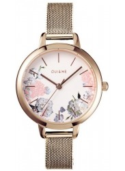 OUI&ME Women's Petite Fleurette White Floral Dial Rose Gold Stainless Steel Watch ME010096