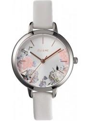 OUI&ME Women's Petite Fleurette Silver Floral Dial White Leather Watch ME010098