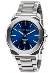 Perry Ellis Unisex Decagon Blue Sunray Dial Stainless Steel Watch 08002-02