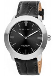 Perry Ellis Unisex Slim Elegant Black Sunray Dial Black Leather Strap Watch 07002-01