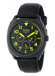 Pulsar Men's Black Dial Leather Watch  PP6077
