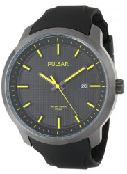 Pulsar Men's Black Dial Yellow Hands Rubber Watch PS9101