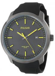 Pulsar Men's Black Dial Yellow Hands Rubber Watch PS9101