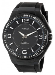 Pulsar Men's Black Dial Black Rubber Watch PS9225
